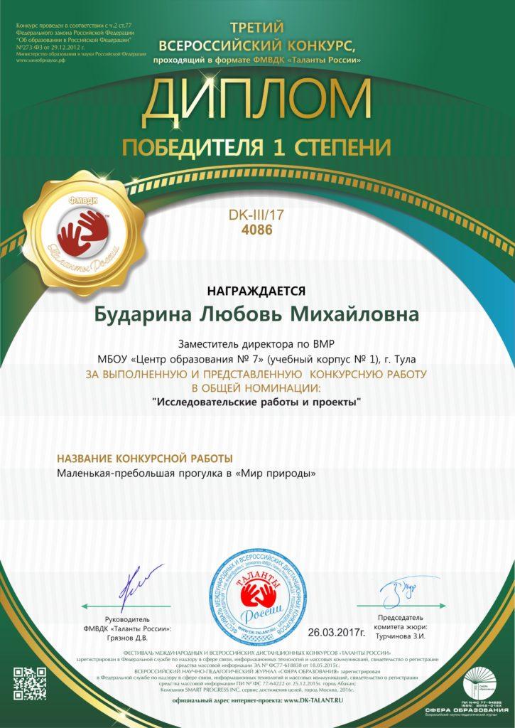 Диплом победителя конкурса талантов